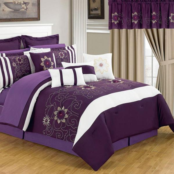 Lavish Home Amanda Purple 24-Piece Queen Comforter Set-66 ...