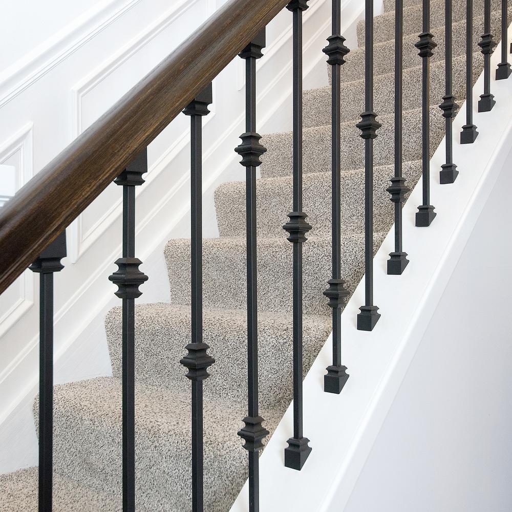 Stair Parts Matte Black Slip N Grip Angled Shoe I810B 127 Hdsng   Modern Stair Railing Home Depot   Indoor Stair   Metal Railings   Wood Railings   Baluster   Wood Stair