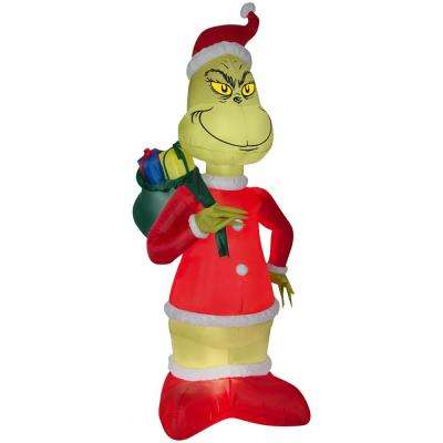 Holiday 8 Ft H X 4 23 W Inflatable Grinch In Santa Suit With