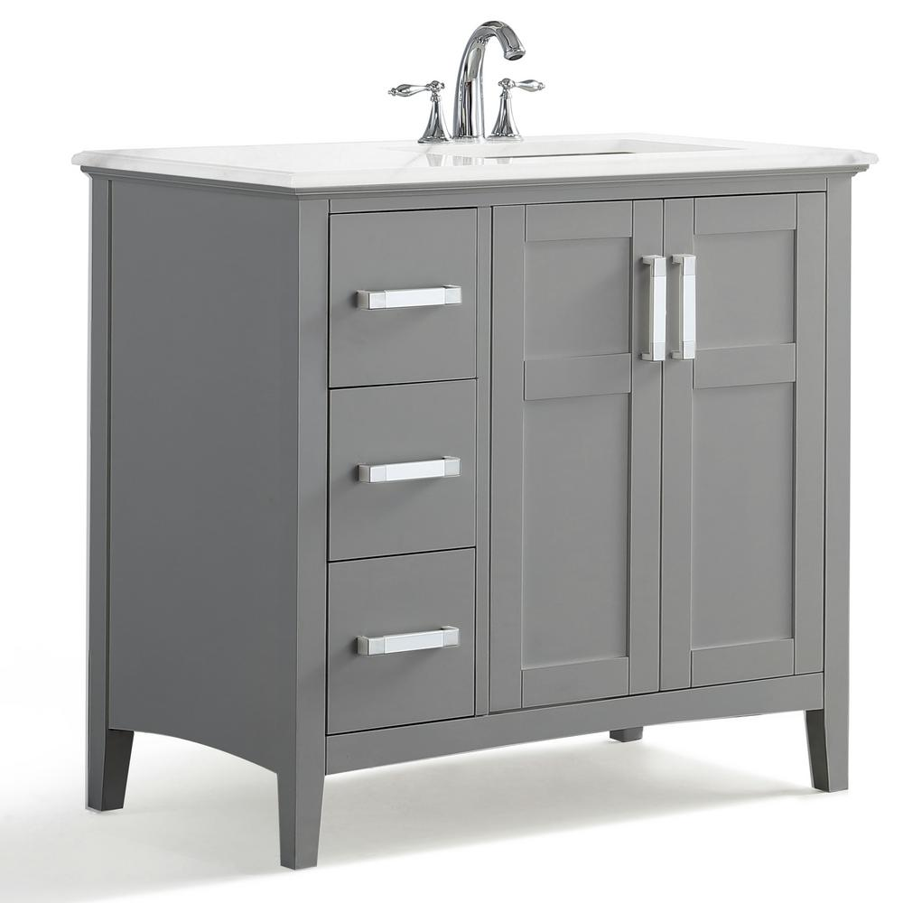 36 inch bathroom vanity top with right