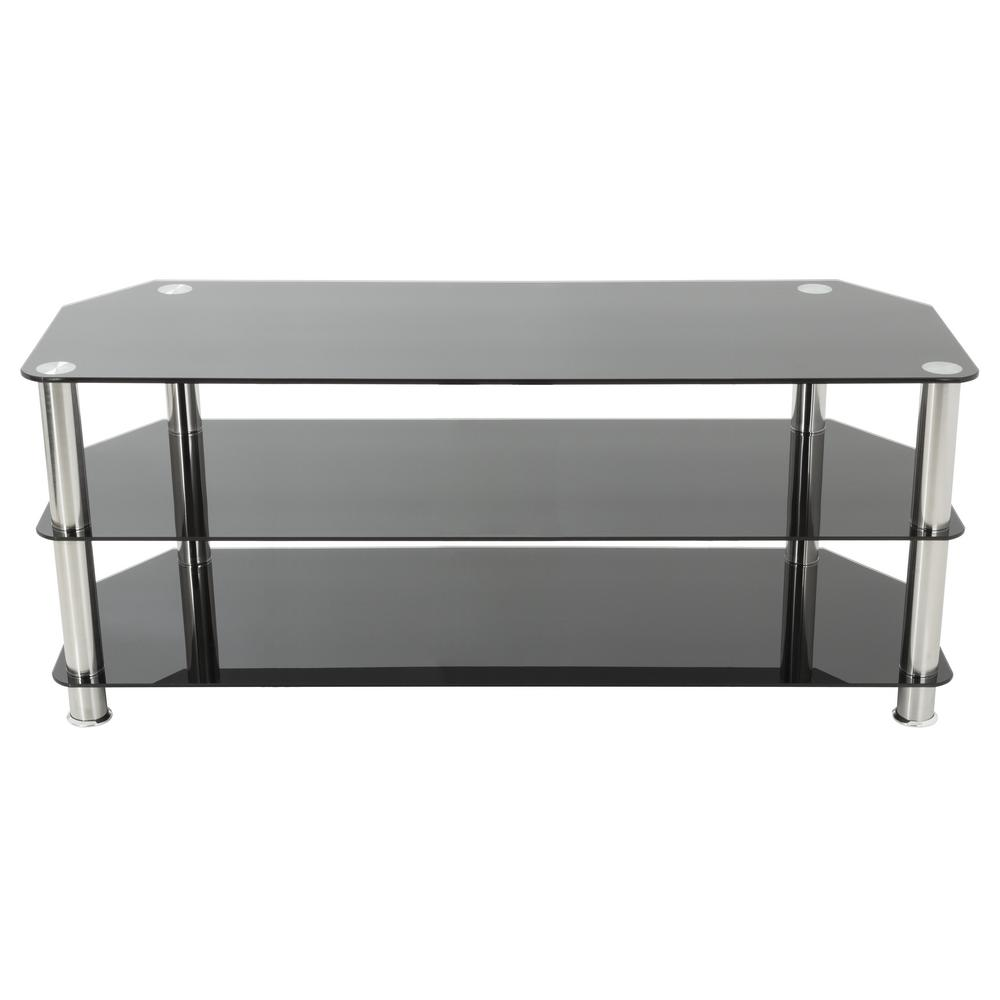 Tv Stand For Tvs Up To 60 In Black Glass And Chrome Legs