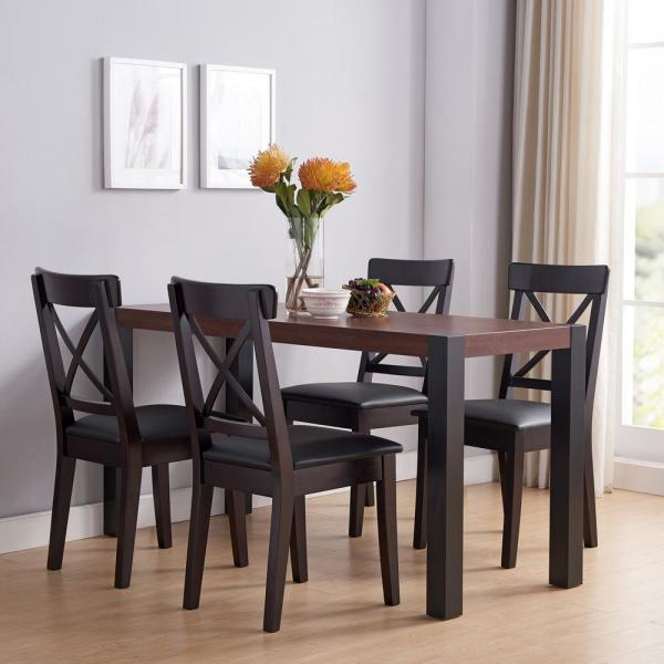 Furniture Of America Sedge Vintage Walnut And Black Compact Dining Table Idi 192461 The Home Depot