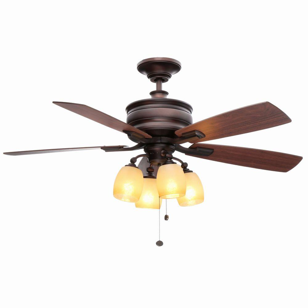 Indoor Oil Brushed Bronze Ceiling Fan With Light Kit