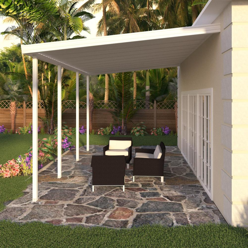 Integra 20 ft. x 12 ft. White Aluminum Attached Solid ... on Backyard Overhang Ideas  id=84360
