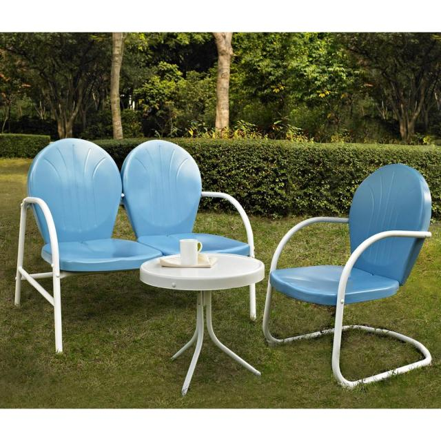 crosley griffith blue 3-piece metal outdoor conversation seating set