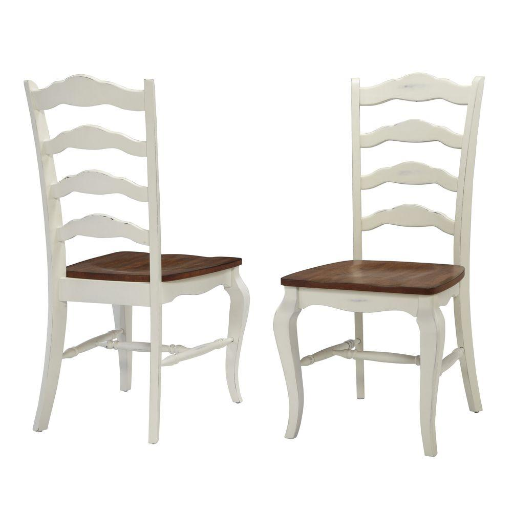 Homestyles French Countryside Rubbed White Oak Dining Chair Set Of 2 5518 802 The Home Depot
