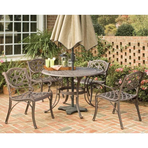 home depot 5 piece patio dining sets Home Styles Biscayne 48 in. Bronze 5-Piece Round Patio