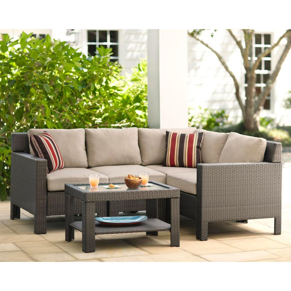 Hampton Bay Beverly 5-Piece Patio Sectional Seating Set ... on 5 Piece Sectional Patio Set id=71015