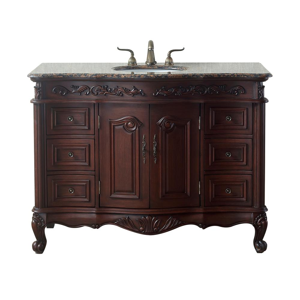 stufurhome saturn 48 in. dark cherry single sink bathroom vanity
