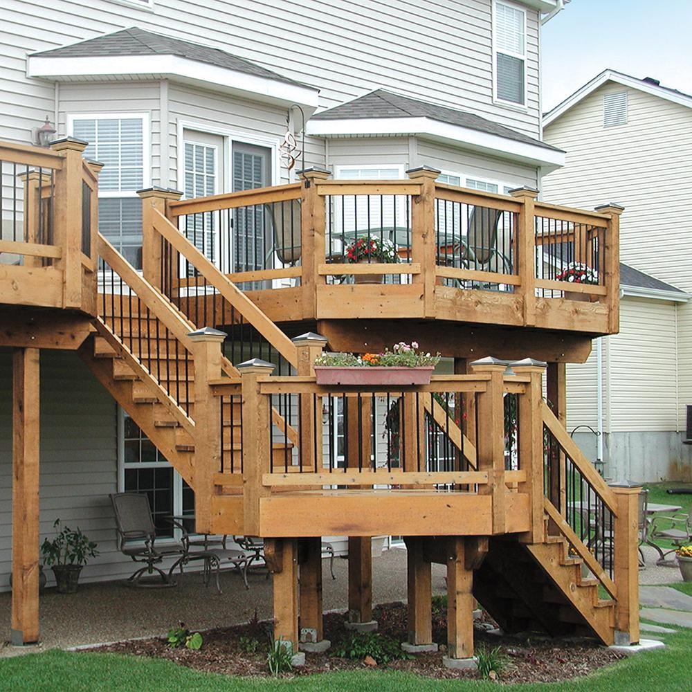 2 Step Pressure Treated Cedar Tone Pine Stair Stringer 215726 | Ready Made Wooden Steps | Stair Treads | Staircase | Deck Stairs | Composite | Stair Stringer