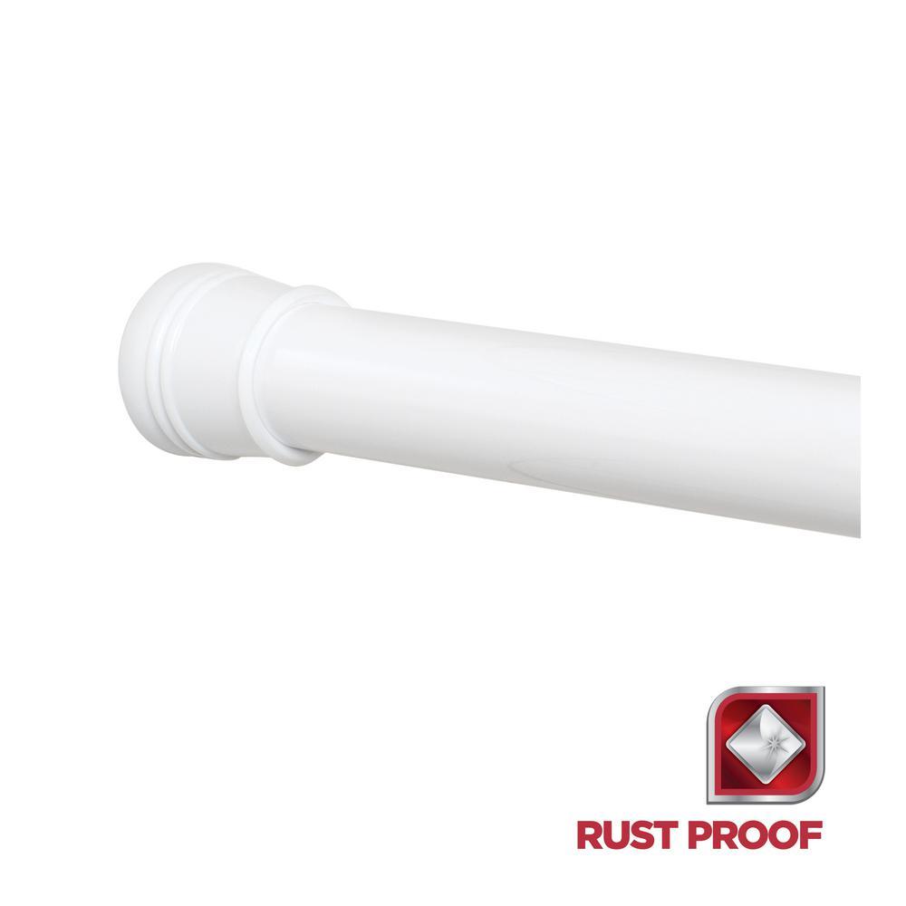 Zenna Home Rustproof 60 In Aluminum Permanent Mount Shower Rod In White AL500W The Home Depot