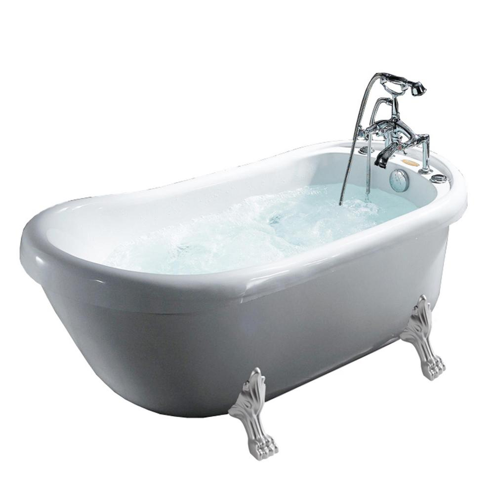 Ariel 669 In Acrylic Clawfoot Whirlpool Bathtub In White