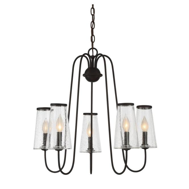 5 Light English Bronze Outdoor Hanging Chandelier With Clear Seeded Glass Shade