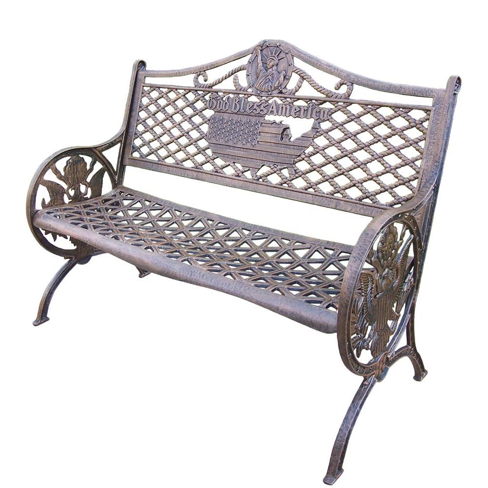 Oakland Living God Bless America Cast Aluminum Patio Bench ... on Ab And Outdoor Living  id=22229