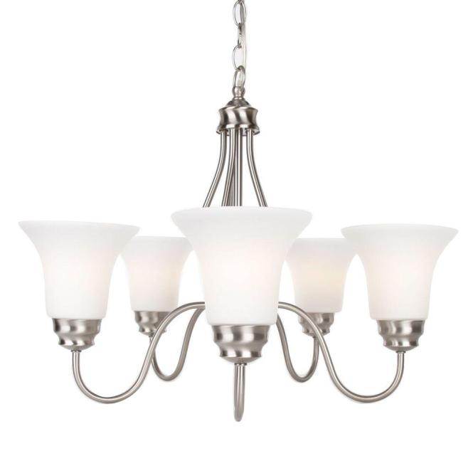 Commercial Electric 5 Light Brushed Nickel Reversible Chandelier