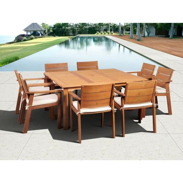 Atlantic Contemporary Lifestyle Nelson 9 Piece Square Eucalyptus     Atlantic Contemporary Lifestyle Nelson 9 Piece Square Eucalyptus Wood Patio  Dining Set with Off