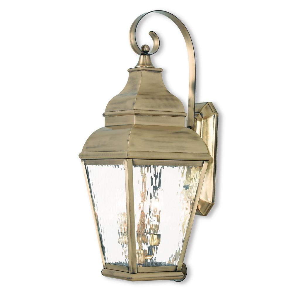 Livex Lighting Exeter 3-Light Antique Brass Outdoor Wall ... on Brass Wall Sconces Non Electric Lighting id=84104