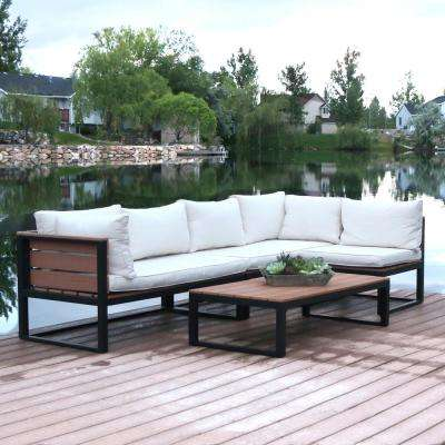 4 piece natural all weather outdoor aluminum conversation set with cream cushions