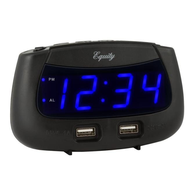 Blue Led Dual Usb Digital Alarm Clock