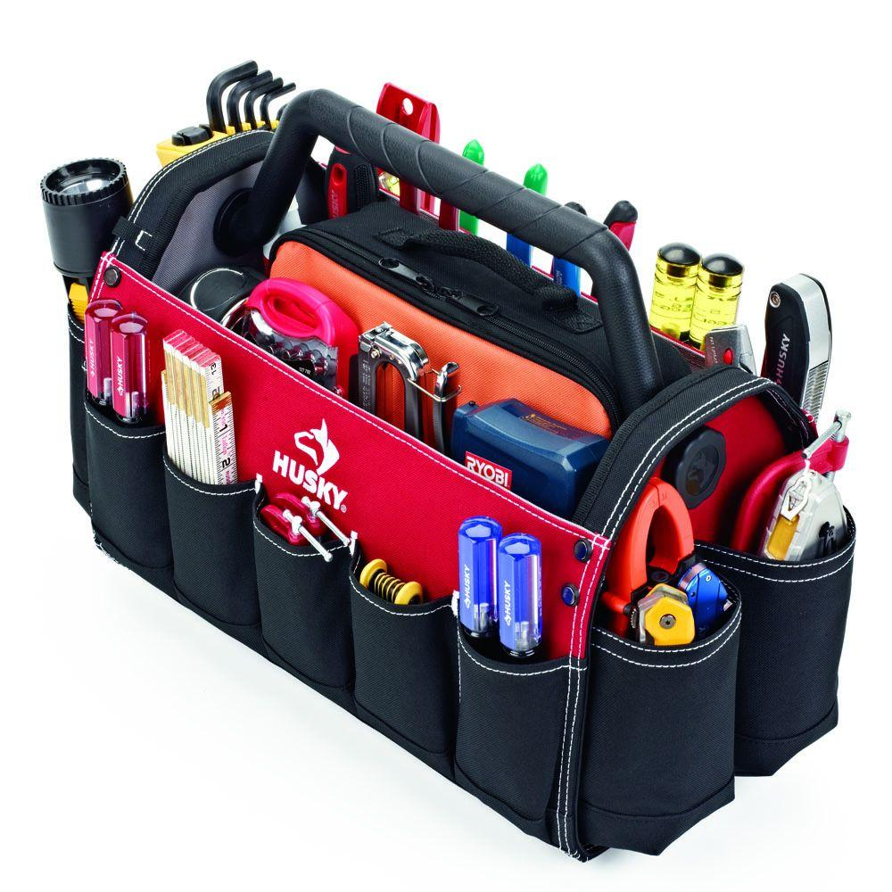 Husky 17 In Open Tool Tote With Rotating Handle GP 44118AN13 The Home Depot