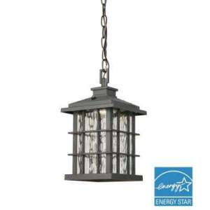 Dusk to Dawn   Integrated LED   Outdoor Ceiling Lighting   Outdoor     Summit Ridge Collection Zinc Outdoor Integrated LED Hanging Lantern