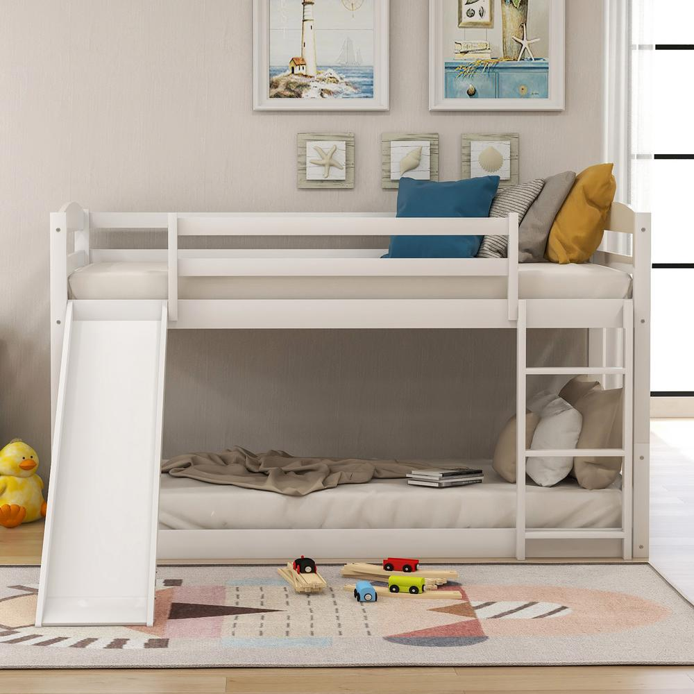harper bright designs white twin bunk bed over low with slide and ladder sm000102aak the home depot