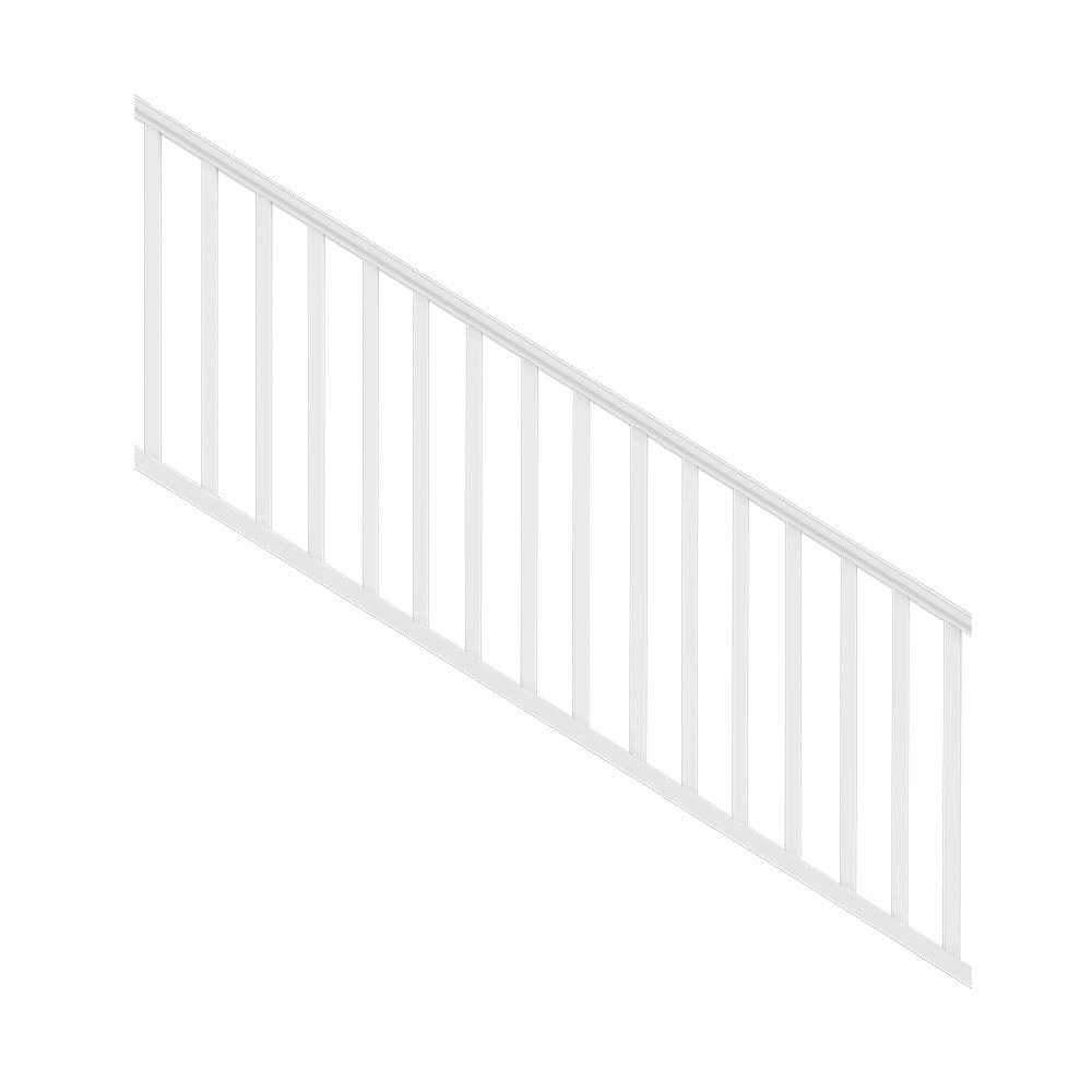 Veranda Traditional 8 Ft X 36 In White Polycomposite Stair Rail | Iron Stair Railing Home Depot | Aluminum Stair | Interior | Rail Kit | Deck Stair | Aluminum Railing