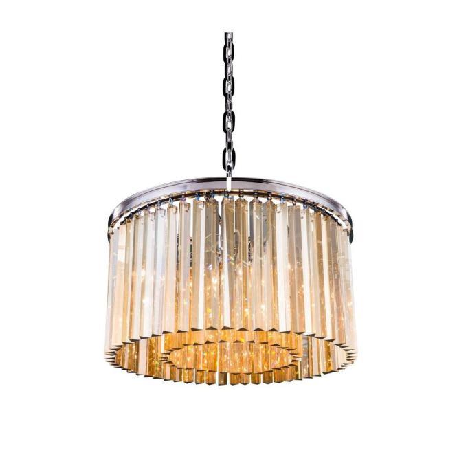 Elegant Lighting Sydney 8 Light Polished Nickel Chandelier With Golden Teak Smoky Crystal