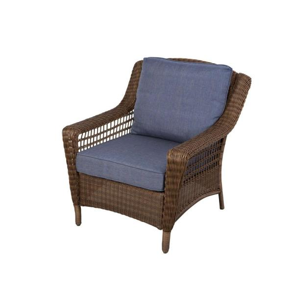 Hampton Bay Spring Haven Brown All Weather Wicker Patio Lounge Chair     Hampton Bay Spring Haven Brown All Weather Wicker Patio Lounge Chair with  Sky Blue Cushions