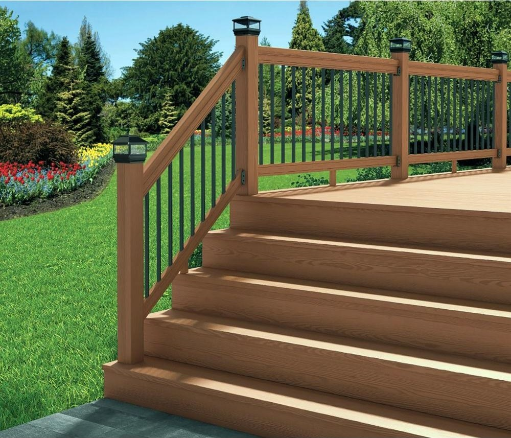 Deckorail 6 Ft Redwood Deck Rail Kit With Black Aluminum | Prefab Wooden Stairs Home Depot | Front Porch | Stair Case | Stair Stringer | Modular Staircase | Spiral Staircase