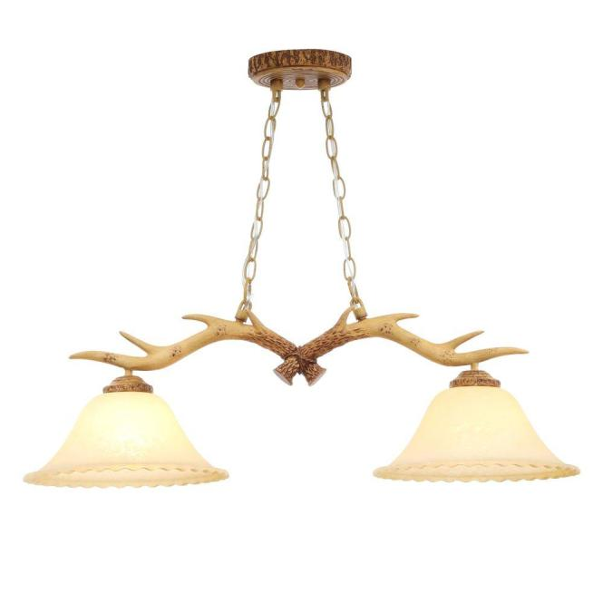 Hampton Bay 2 Light Natural Antler Island Chandelier With Sunset Glass Shades