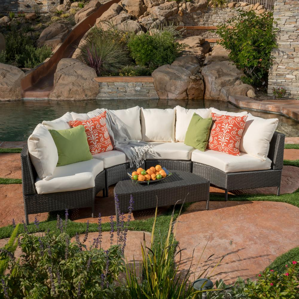Noble House Newton Grey 5-Piece Wicker Outdoor Sectional ... on 5 Piece Sectional Patio Set id=25187