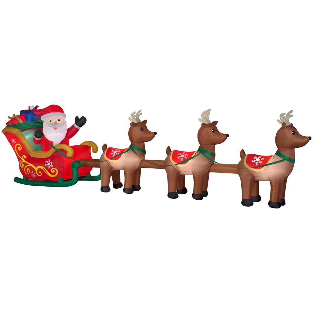 Christmas Decorations Santa Sleigh And Reindeer   Psoriasisguru.com