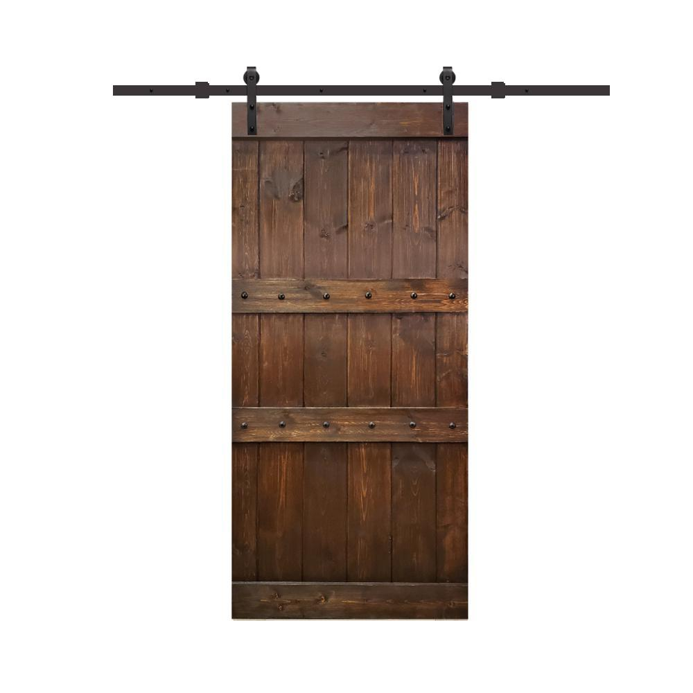 calhome clavos 24 in x 84 in brown stained solid pine on Brown Barn Door id=93956