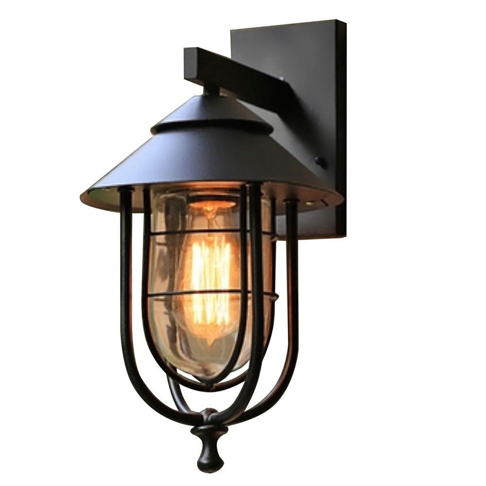 Home Decorators Collection 1-Light Sand Black Medium ... on Sconce Outdoor Lighting id=62427