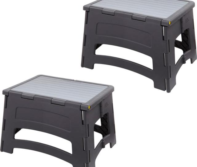 1 Step Plastic Folding Step Stool Ladder With A 300 Lbs Capacity 2 Pack