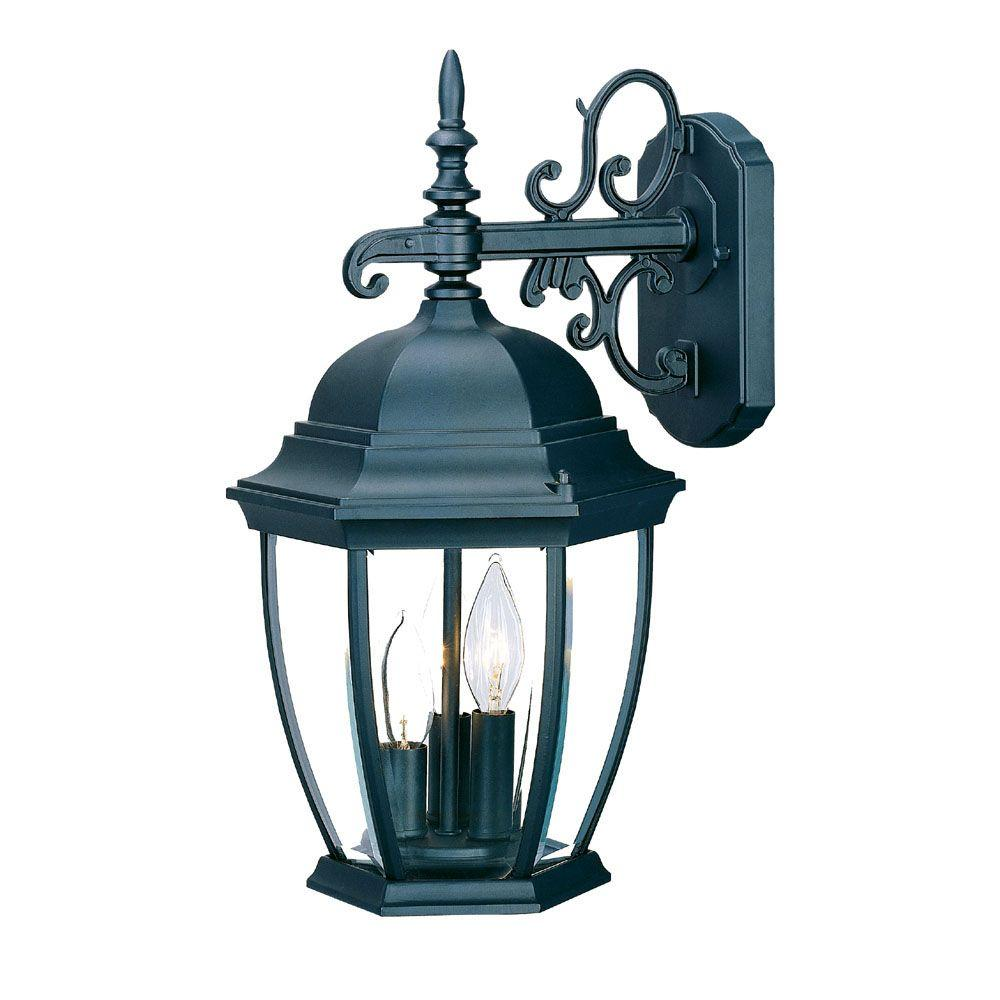 Acclaim Lighting Wexford Collection 3-Light Matte Black ... on Outdoor Lighting Fixtures Wall Mounted id=68514