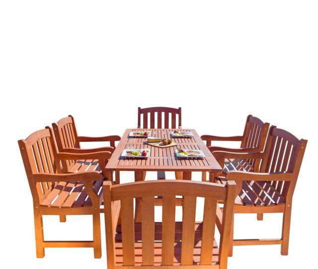Malibu  Piece Wood Rectangle Outdoor Dining Set