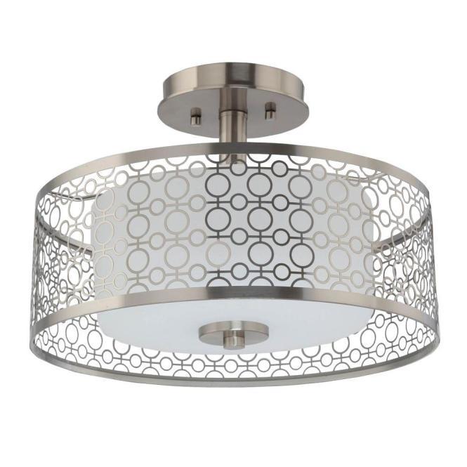 Home Decorators Collection 1 Light Brushed Nickel Led Semi Flush Mount
