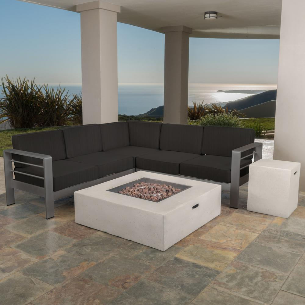 Noble House Cape Coral Gray 5-Piece Metal Patio Fire Pit ... on 5 Piece Sectional Patio Set id=68130