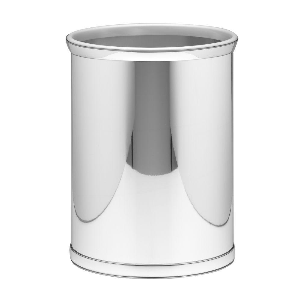 mylar 13 qt polished chrome oval waste basket