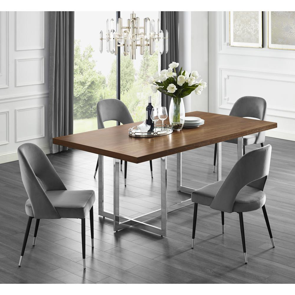 inspired home davian 78 8 in walnut wood veneer dining table with chrome metal legs dt122 09wns hd the home depot