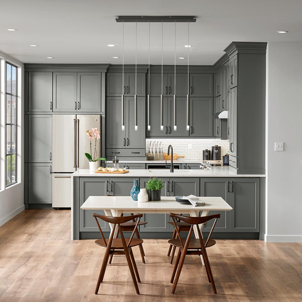 American Woodmark Custom Kitchen Cabinets Shown In Industrial Style Hdinstbl The Home Depot