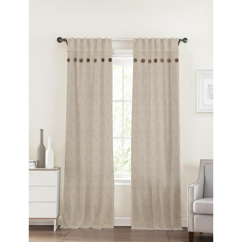 40 In X 96 In Eleanor Linen Tan Polyester Curtain 1104412LINEN40X96 The Home Depot