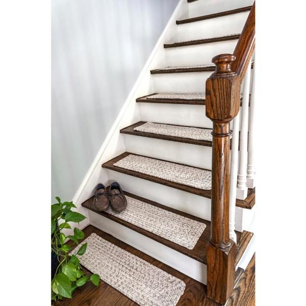 Nuloom Ivory 8 In X 28 In Stair Treads Braided Lefebvre Indoor   Outdoor Stair Treads Home Depot   Vinyl Stair Risers   Cedar Tone   Square Nose Stair   Carpet   Non Slip