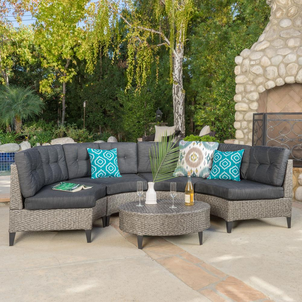 Noble House Navagio Mix Black 5-Piece Wicker Outdoor ... on 5 Piece Sectional Patio Set id=18911