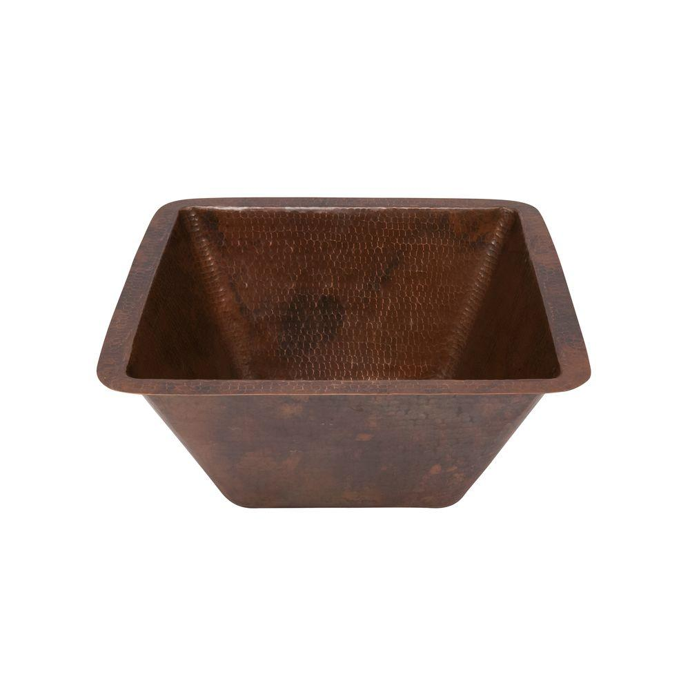 premier copper products under-counter square hammered copper