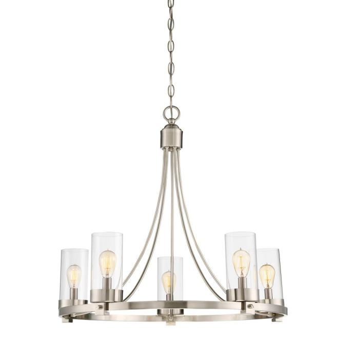 Filament Design 5 Light Brushed Nickel Chandelier With Clear Glass Shade