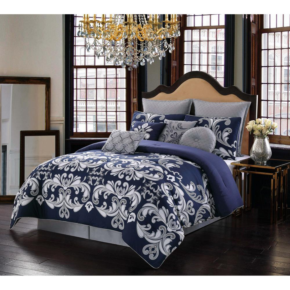 style 212 dolce 10 piece silver and navy queen comforter set cs2641qn10 1300 the home depot