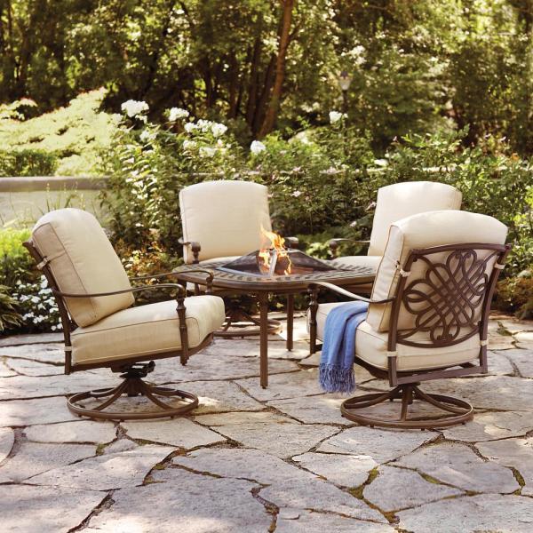 outdoor patio furniture with fire pit Hampton Bay Cavasso 5-Piece Aluminum Outdoor Patio Fire